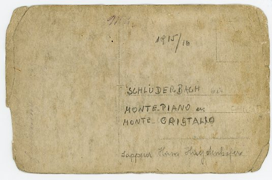 Monte Piano, Postkarte Rückseite, 1914/15
