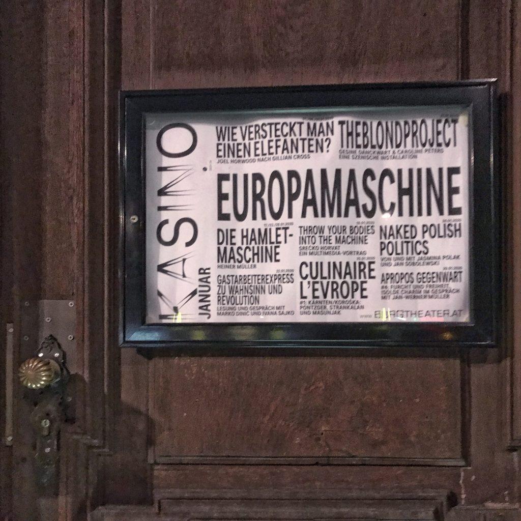 """Bis 12. 3. gibt es im Kasino am Schwarzenbergplatz den Scherpunkt """"Europamaschine"""""""